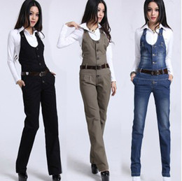 Wholesale women s high waisted braces trousers one piece gallus pants jumpsuit size S M L XL blue black green