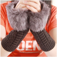 Wholesale Fashion Female Women Model Mitts Warm Imitate Rabbit s Hair Half Finger Fingerless Cool Gloves