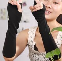 Wholesale 2015555 DHHH Black Fashion fingerless long gloves Women s half finger arm gloves warmer knitted long arm sleeve