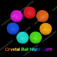 Wholesale Crystal Wedding Lamps - L92 7-Colors Color Changing Dia 7cm (2.75 inch) Crystal Ball LED Night Light Lamp Magic Colorful