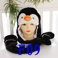 Wholesale 100pcs Long Style Penguin Cartoon Animal Hat Cute Fluffy Plush Hat with long scarf gloves Cap