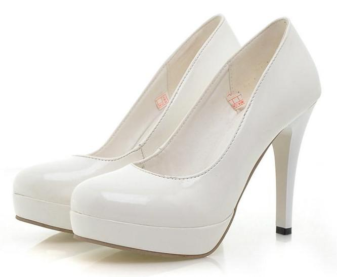 White Dress Shoes Ladies Women s Super Patent Leather High-Heels
