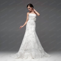 Wholesale Actual Images Luxious Classic Strapless Alencon Lace Bow Detailing Mermaid Wedding Dresses