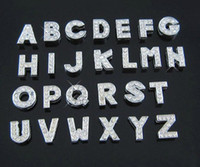 Wholesale Hole Length MM DIY Slide Letters With Rhinestone Pet Dog Collars