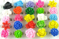 resin lucite - MIC Lucite Resin Glitter Various Color Flower Rings