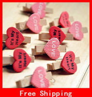 paper clips - Lovely Wooden Heart Type Small Clip Photo Clip Note Clip Office Binding Supplies