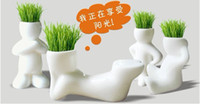 artificial grass flowers - Home Decor Plant Bonsai Grass Doll Office Mini Plant Pot Seed Creative Gift Plant Hair man