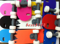 Wholesale Silicone soft Sliding Plate stand gel case cases Skateboard wheel for iphone th G