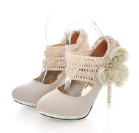 Wholesale Chic Beige Color Lace flower Ladies Women s Shoes High Heels Platform shoes Dress shoe