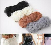 Wholesale Double Rose Flower Buckle Elastic Waist Belt Lady Waistband Girdle Black Grey Beige Red