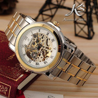 Wholesale Mens Automatic Mechanical Watch Analog Golden Silver Steel KS White Dial Skeleton Wrist Watch KS040