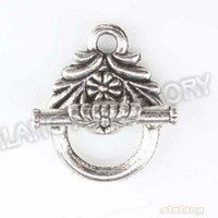 Wholesale Antique Silver Plated Lace Shape IQ Clasp Alloy Toggle Clasp Jewelry Findings
