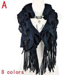 High quality women winter scarves warm waved style jewelry charm pendant scarf neckerchief cape scarf ,NL-1932