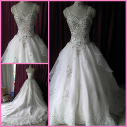 2017 Actual Picture Custom Made Luxury Wedding Dress Bridal Gown Exquisite Heavy Beading Cathedral Train Wedding Gown