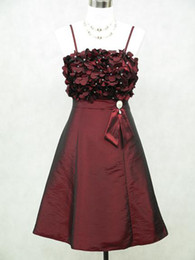 Wholesale Real Sample Spaghetti Straps A Line Dark Red Short Taffeta Homcoming Dresses Party Dress