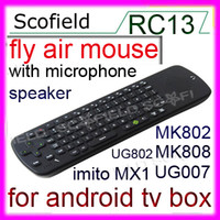 Wholesale New Fly air Mouse Measy RC13 G Wireless Keyboard Mouse with Speaker Microphone For Android TV BOX