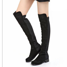 Wholesale Leather Heeled Thigh High Boots - New Materials Joining Black Synthetic Suede Flat Heel Long Boots Comfortable Over Knee High Boots