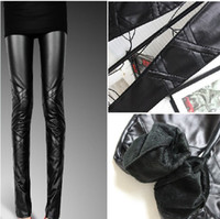 Leggings Skinny,Slim Capris Europe Black Leather Pants Splice Winter Thicken Pencil Leggings ja577