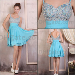 Wholesale 2014 New Arrival silver beaded spaghetti strap mini length sky blue Prom dresses homecoming dresses DM224