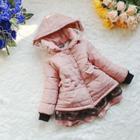 Wholesale baby girl heavy padding jacket cold winter use kids childrens detachable hooded jacket coat bc