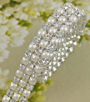Wholesale MIC Yards Rows Clear Crystal Rhinestone Ribbon Diamond Pearl Wraps Sewing Craft