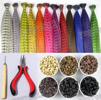 Wholesale 120pcs synthetic rooster grizzly feather hair extension one needle piler silicone rings