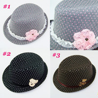 Wholesale Baby Winter Trilby Fedora hat with bear Kids Wool Felt Fedoras Children flower Caps Top Hat BH210