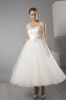 sexy mini wedding dress - 011 Organza Short Mini Sexy Tea Length Actual Images A Line White Ivory Wedding Bridal Gowns Dresses