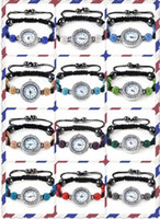 Fashion balls watch hands - New Fashion Hand knitted Shamballa Beads Bracelet Watches Women Charm Bracelets MM Crystal Disco Ball Watches XMAS Gifts Mix Colors SH1