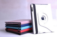 Wholesale for ipad New ipad ipad3 Rotating leather Case Stand Sleep Wake Up Function