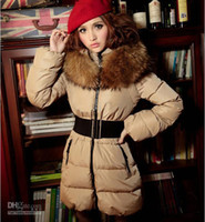 Wholesale New Fashion Women dress coat down jacket upset tide raccoon collars camel women feather jacket