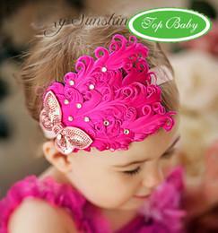 20 pcs Baby Girl Feather Headband Infant Head Decoration Christmas Flower Hair Band Child Headwear