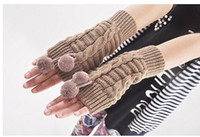 Wholesale Wool gloves lovely ball ball half mittens lady winter arm sleeve cuff