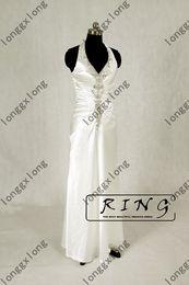 Wholesale 2012 Actual Images White Ivory Halter Deep V Neckline Satin Handmade Beadings Wedding Dresses GXG796