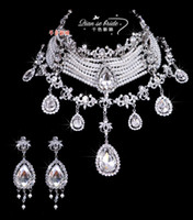 Wholesale Hot Style Custom Made Luxurious Bride s Crystal Jewelry Necklace and Earrings for Wedding