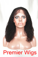 Wholesale High Quality Indian Remy Human Hair quot Kinky Curl Natural Color Full Lace Wigs Small Cap