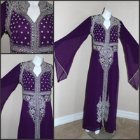 Wholesale Cheap kAFTAN DUBAI ABAYA Purple Free Size embroidered Applique new design muslim dress