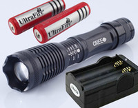 Wholesale LM Cree XML T6 LED Flashlight x18650 Battery Free Torch Charger