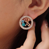 Wholesale Fashion Round Earrings Elegant Crystal Glitter Hollowed Bowknot Stud Earrings E121