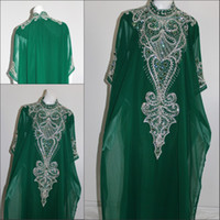 Wholesale New Arrival Cheap DUBAI kAFTAN ABAYA Free Size Green Beading Applique Prom Dress Evening Gown