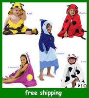 terry hooded towel - Cartoon Baby hooded Bathrobe Swim towel bath Robes Lady beetles butterfly cow bee gift