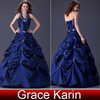 Wholesale New Gorgeous Halter Ball Gown Wedding Dresses Taffeta Prom Gown with Pick ups Royal Blue Bridal Dress CL3108