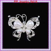 Wholesale Silver tone Stunning crystal Pearl Butterfly brooches