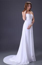 Wholesale Grace Karin New Elegant Ivory Sweetheart Neckline Wedding Dress Chiffon Long Sheath Dress Beach Summer Bridesmaids dresses CL2526