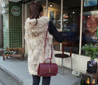 Wholesale Women Rabbit fur hoodie vest winter sleeveless warmly comfortable outwear