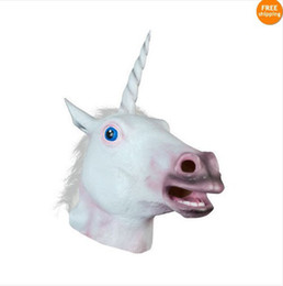 Wholesale Magical Unicorn Mask Horse Mask Deluxe Latex Animal Mask Party Cospaly Halloween Costume Mask Theater Prop Novelty New Style