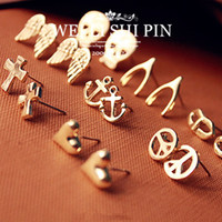 Wholesale 9modle vintage accessories fashion mischa barton wishing stud earring skull cross