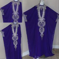 Reference Images High Neck Chiffon Cheap DUBAI ABAYA kAFTAN Free Size High Collar Beading Purple muslim Prom Dress Evening Gown