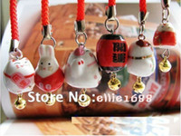 bone china antique ceramic cats - HOT pc Ceramic Maneki Neko Mobile Strap cat mobile chain christmas decoration chain keychains fashion accessories