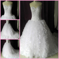 Wholesale 2013 New Arrival Sweetheart Ball gowns Organza Pleated Gorgeous bridal gowns Wedding dresses